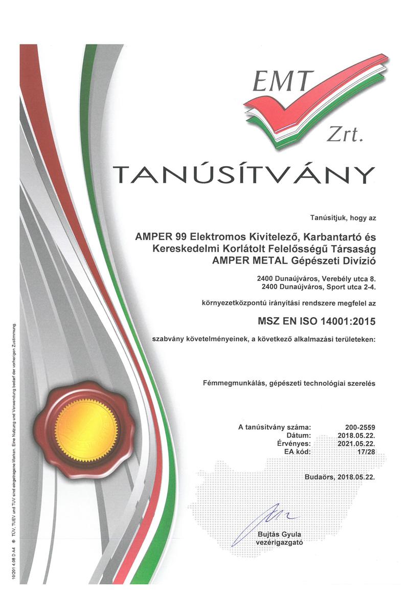 ISO14001 EMT Zrt. tanúsítványunk