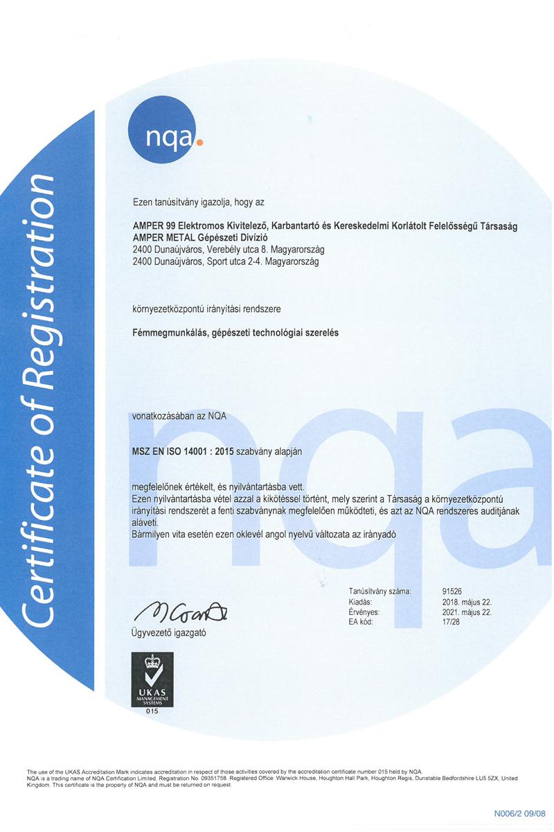 ISO14001 NQA tanúsítványunk