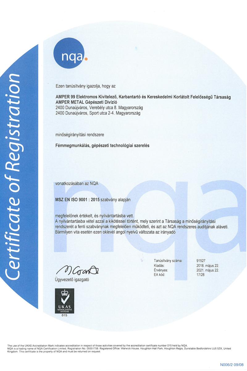 ISO9001 NQA tanúsítványunk